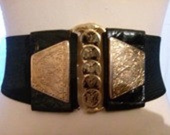 Leather elastic belt and buckle black color metal