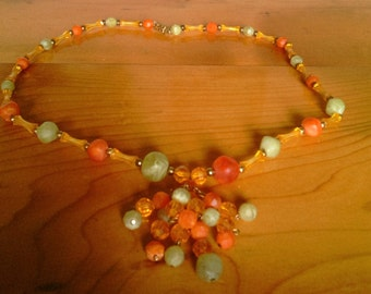 Vintage Mod Beaded Necklace With Green, Yellow and Orange Beads