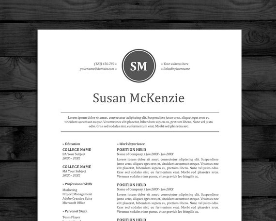 resume cv template mac pc free cover letter instant downoad