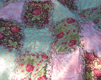 Rag Quilt, Shabby in the Country, Lap Quilt, Handmade in the USA,  Ready to Ship
