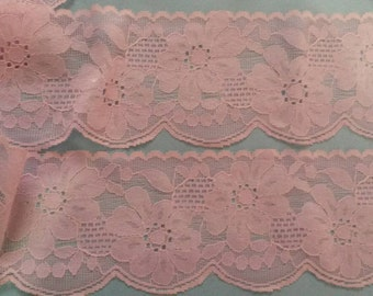 2 Yards PINK Lace Trim Flower Venise Lace Trim 2.75 Inches Wide