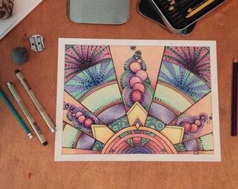 Original, hand-drawn in colored pencil- Royal Rhythm