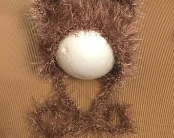 Littlebits Newborn Baby Crocheted Brown Fluffy Teddy Beanie - Handcrafted in Australia RTS