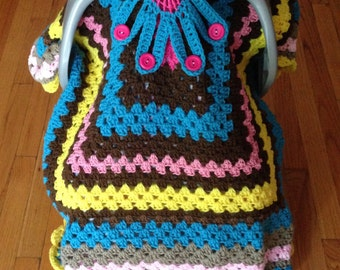 40 x 35  5 Colores Car Seat Canopy soft Lined at the back - Crochet Baby Blanket - Afghan