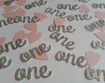 silver glitter age 1 and pink heart table confetti age one silver glitter party decor