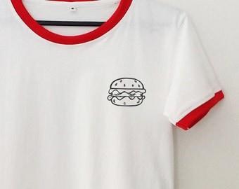 Hamburger pocket tee tshirt ringer tee t shirt instagram tumblr graphic tee women t-shirt teen girl gift for best friend