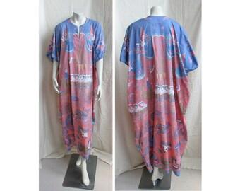 Vintage 1990s Cotton Caftan Asian Batik Print J.PETERMAN Boho Dress