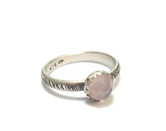 Chalcedony Rose - stones and sterling silver ring