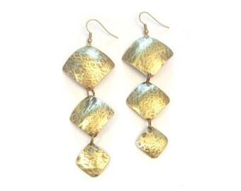 Ethnic earrings hammered brass