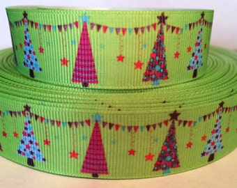 Christmas Ribbon - 7/8 Inch Grosgrain - Christmas Tree - Christmas Holiday --Designed Grosgrain Ribbon - Christmas Craft Supply