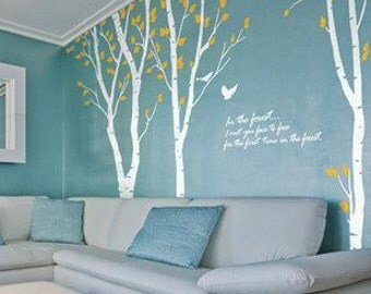 Super big birches&birds wall decals large tree wall stickers vinyl glass decals Removable decorative wall stickers TV setting decals
