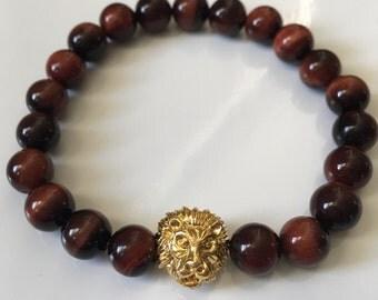Red Tigers Eye Gold Lion Head Bracelet, Protection Bracelet, Gifts for Him, Boyfriend Gift Ideas, Tigers Eye Bracelet, Wellness Bracelet