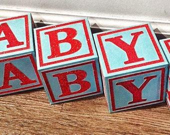 Alphabet Blocks - Baby Shower Centerpiece - Nursery Blocks - Baby Blocks - Block Letters - 3D Block
