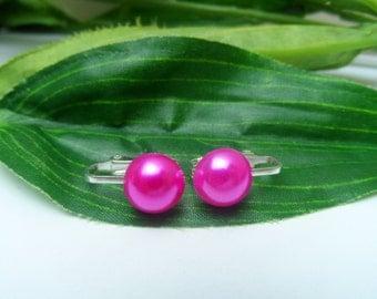 Girls Hot Pink Pearl Clip on Earrings, pearl earrings, Pink clip on earrings, flowergirl clip on earrings, wedding clip on earrings