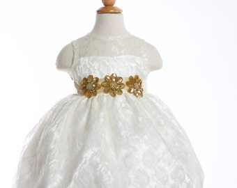 Limited Quantity-Couture  Ivory and Gold Flower girl Dress- Also Available with Short balloon Sleeves