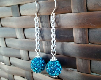 Silver Chain Pave Crystal Earrings, Pave Crystal Earrings, Chain Earrings, Turquoise Earrings, Purple Earrings, Silver Chain Earrings