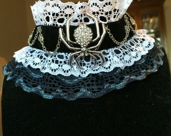 Black and white lacy rhinestone spider with chains choker necklace