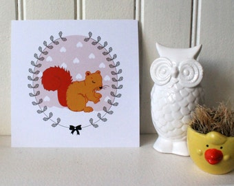 Postcard / Illustration Fox, squirrel and kitten