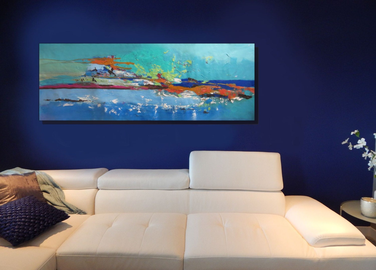 Large teal canvas art orange and blue wall art by christovart for Orange wall art
