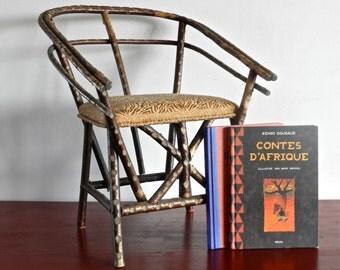 Fauteuil enfant original en bois avec assise en tissu
