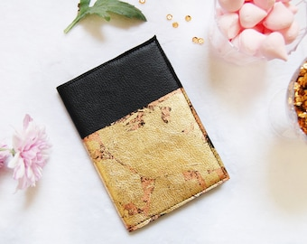 Black Leather notebook, copper and gold leaf leather journal, black mini leather notebook, black sketchbook, blank book