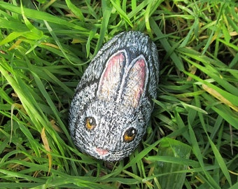 Rabbit Rock, Hand Painted Stone, Cottontail, Rabbit Painting, Garden Decor, Animal Art, Pet Lover, Wildlife Painting, Rock Painting, Rabbit