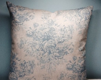 Blue Cabbage Rose pillow cover. Shabby cottage chic throw pillow. Linen throw pillow. French country. Cottage decor. Floral Designer pillow