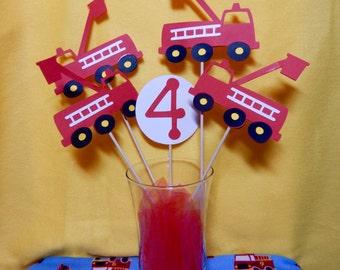 Fire Truck 5 piece birthday centerpiece