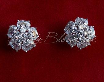 CZ Bridal Earrings, Crystal Earrings, Bridal Post Earrings, CZ Cubic Zirconia Earrings, CZ Post Earrings, Bridesmaid Earrings, Wedding Gift