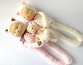 Cat doll family soft cloth doll, rag doll, white cat, pink cat, stuffed cat, animal doll