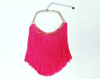 Hot Pink Necklace Pink Statement Necklace Fringe Necklace Pink Fringe Necklace Bohoemian Necklace Festival Wear Neon Pink Necklace Coachella