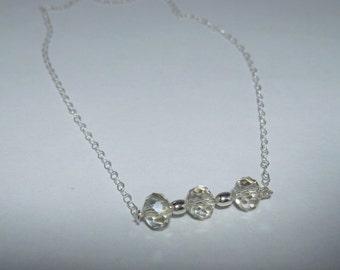 Bridal Party Gift Necklace Swarovski Sterling Silver Necklace