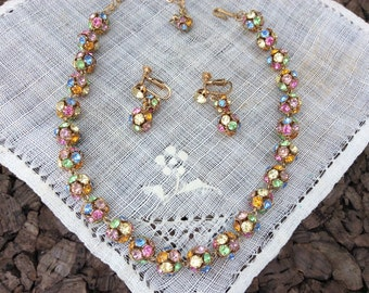 Vintage Multi Colored Rhinestone Necklace / Choker and Drop Earring Set