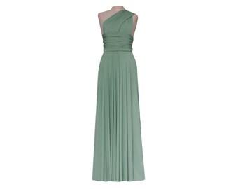 Twist Wrap Bridesmaid Sage Green Long Dress Convertible Infinity Octopus Maxi Skirt Formal Evening Prom Party Dress