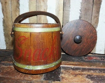 Vintage Antique Rustic Country Style Farmhouse Decor Wood Wooden Barrel SNACKS Holder Storage Canister Container Jar w/Lid