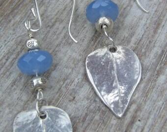 Fine Silver Leaf Earrings with Blue Chalcedony, Leaf Earrings, Dangle Leaf Earrings