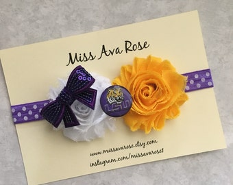 Lsu inspired bow, Louisiana State University bow on purple and white headband, football bow, Lsu football, LSU tigers, tigers bow