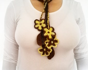 Yellow and Brown  flower,  Scarf Crochet Lariat Scarf, crochet necklace, handmade necklace,crochet