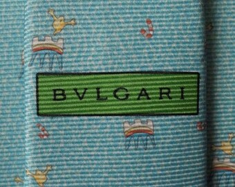 Bvlgari Tie Woven Silk Candy Novelty Pattern Blue Vintage Designer Dress Davide Pizzigoni Necktie Made In Italy