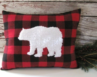 White Fur Bear Pillow Buffalo Check