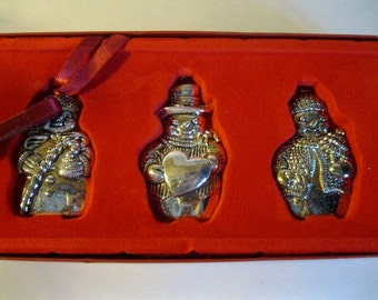 Christmas ornaments,Gorham Silverplate, Snowmen, 3 Boxed, Unused, Set 3