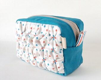 Smocking Zipper Pouch - Ploka-Dots Cotton & Turquoise Blue Canvas