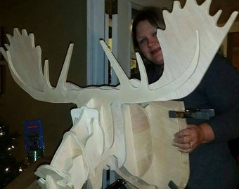 Wooden Moose Head Wall Art