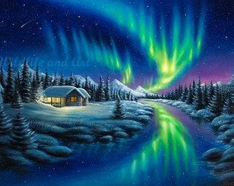 "Northern Lights Limited Edition Art Print - ""Make A Wish"" by Chuck Black"