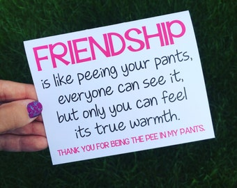 Funny Friendship Card - Best Friend Card - Thank you for being a friend - Funny Card - Long Distance Friendship