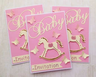 5 x Baby Shower Invitations, Handmade Baby Invites, Luxury Invitations set, Butterfly Baby Girl