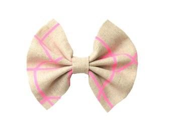 Pink/Sand  Hair Bow/Candy Stripe Hair Bow