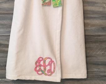 Monogrammed Towel Wrap, Monogram Towel, Bath Wrap, Spa Wrap, Graduation, Towel, Wrap, Lilly Pupitzer, Towel Wrap