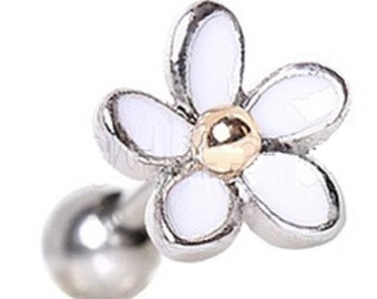Tragus 316l Surgical Steel Sweet White Daisy Cartilage Earring 16g 1pc
