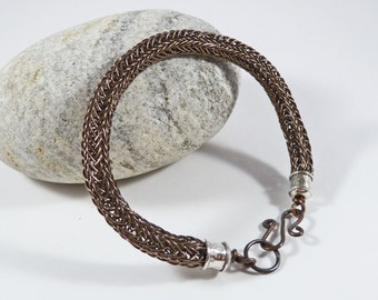 Rustic Bracelet, Man's Bracelet, Father's Day, Boyfriend Gift, Medium to Large, Copper, Silver, Viking Knit, Woven, Wire, Norse Jewellery